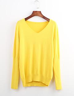 billige Lagersalg-Dame Bomull Pullover - Ensfarget V-hals
