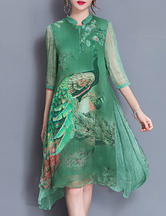 Women's Going out Plus Size Chinoiserie Loose Chiffon Dress,Print Stand Knee-length Half Sleeves Silk Polyester Spring Summer Mid Rise