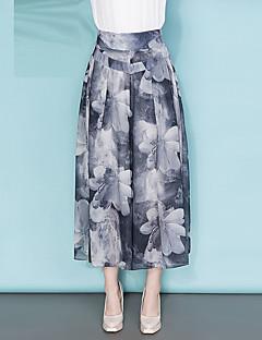 Χαμηλού Κόστους Cropped Pants-Γυναικεία Μεγάλα Μεγέθη Ψηλοκάβαλο Πλατύ Πόδι Chinos Παντελόνι - Στάμπα Σιφόν