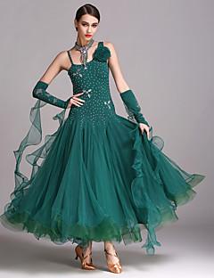 Balo Dansı Elbiseler Kadın's Performans Tül Likra 4 Parça Kolsuz Doğal Elbise Neckwear Bileklikler