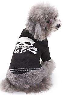 billiga Hundkläder-Katt Hund Tröjor Hundkläder Dödskalle Vit/Svart Akrylik Fiber Kostym För husdjur Herr Dam Ledigt/vardag Mode Halloween