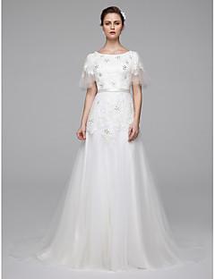 billiga A-linjeformade brudklänningar-A-linje Prydd med juveler Svepsläp Spets med pärlor Bröllopsklänningar tillverkade med Bård / Bälte / band av LAN TING BRIDE®