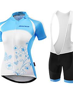 Malciklo Sykkeljersey med shorts Dame Kort Erme Sykkel Tights Med Seler Jersey Fôrede shorts KlessettAnatomisk design Ultraviolet