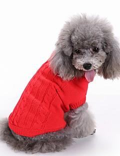 Gatos Cães Súeters Roupas para Cães Inverno Cor Única Fofo Da Moda Natal Ano Novo Vermelho Verde Azul Rosa claro Azul Claro