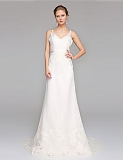 billiga A-linjeformade brudklänningar-A-linje V-hals Svepsläp Spets Bröllopsklänningar tillverkade med Applikationsbroderi / Bälte / band av LAN TING BRIDE® / Öppen Rygg