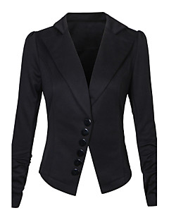 Women's Work Simple Spring Fall Blazer,Solid Round Neck Long Sleeve Regular Others