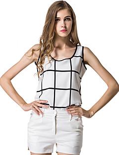 Χαμηλού Κόστους Γυναικείες Μπλούζες-Γυναικείο Αμάνικη Μπλούζα Καθημερινά Μεγάλα Μεγέθη Απλός Τετράγωνο Καρό,Αμάνικο Στρογγυλή Λαιμόκοψη Καλοκαίρι Λεπτό Διαφανές Πολυεστέρας