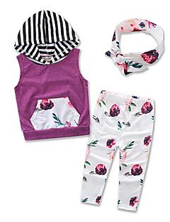 billige Tøjsæt til piger-Pige Tøjsæt Fest Daglig I-byen-tøj Blomstret, Bomuld Polyester Sommer Uden ærmer Blomster Lilla