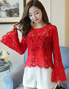 Women's Homecoming Date School Daily Wear Work Wear Contemporary Blouse,Solid Color Polyester Lace