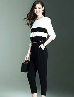NEDO Slim JumpsuitsGoing out Party/Cocktail Holiday Vintage Simple Street chic Striped Color Block Patchwork Round Neck  Sleeve Mid Rise