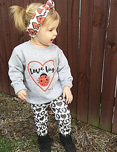 Girls' Party Daily Going out Print Animal Print Clothing Set,Cotton Polyester Spring Fall All Seasons Long Sleeve Cartoon Animal Print