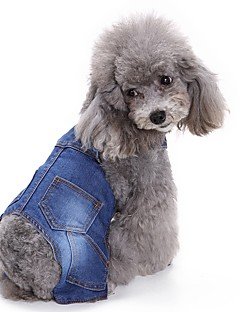 cheap Dog Clothes-Cat Dog Jumpsuit Dog Clothes Cowboy Casual/Daily Fashion British Blue Costume For Pets