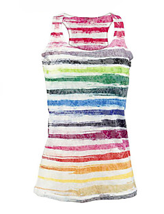 Women's Casual/Daily Beach Street chic Summer Tank Top,Rainbow Round Neck Sleeveless Polyester Medium