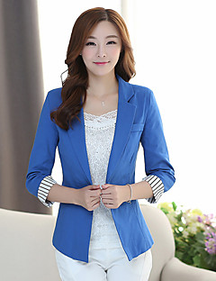 Women's Work Simple Spring Fall Blazer,Print Round Neck Long Sleeve Regular Others