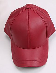 Kadın Günlük PU Baseball Şapkası,Tüm Mevsimler Solid