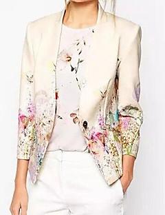 ieftine Blazere-Damă În V Blazer Ieșire Simplu,Floral ¾ Manșon Primăvară Toamnă-Scurt Celofibră