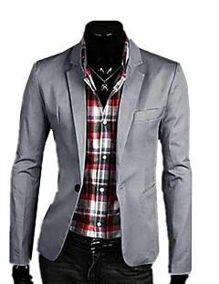 billige Herremote og klær-Lin Store størrelser Tynn Blazer-Ensfarget Business Casual Herre / Langermet