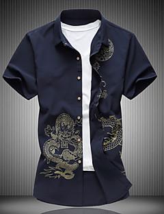メンズ カジュアル/普段着 Tシャツ,シンプル シャツカラー フラワー 刺しゅう コットン 半袖