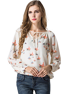 Women's Lace up/Floral Patterns Casual/Daily Sexy Simple Spring Summer T-shirt,Animal Print V Neck Long Sleeve Polyester Translucent Thin