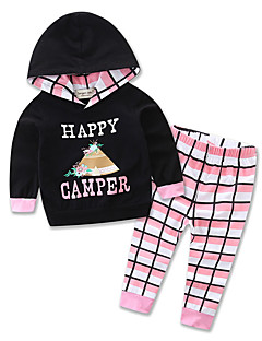 Girls' Daily Sports Going out Geometric Print Color Block Clothing Set,Cotton Polyester Spring Fall All Seasons Long Sleeve Cartoon Check