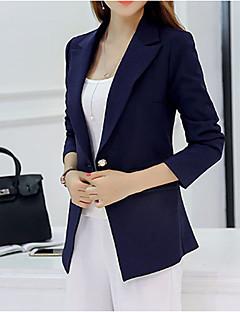 여성 프린트 라운드 넥 긴 소매 블레이져,심플 작동 긴 Others 봄 가을