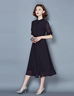 Χαμηλού Κόστους Φορέματα Μεγάλα Μεγέθη-Γυναικεία Σιφόν Φόρεμα - Μονόχρωμο Μίντι Ως το Γόνατο