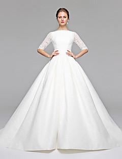Prinzessin Bateau Hals Pinsel Schleppe Spitze Satin Hochzeitskleid mit Schärpe / Band Schleife durch LAN TING BRIDE®