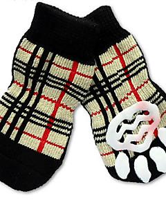 billiga Hundkläder-Katt Hund Strumpor Gulligt Ledigt/vardag Semester Födelsedag Vändbar Håller värmen Mode Sport Bröllop Pläd/Rutig Regnbåge För husdjur