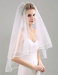 baratos Véus de Noiva-Duas Camadas Borda com Tira Véus de Noiva Véu Ponta dos Dedos Com Pente Flôr Organza