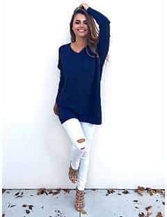 tanie Swetry damskie-Normalny Pulower Damskie Impreza / bankiet Chic & Modern Solid Color,Dekolt serduszko Długi rękaw Zima Jesień Średni/a Średnio