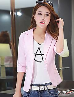 Women's Work Simple Spring Fall Blazer,Solid Round Neck Long Sleeve Regular Linen