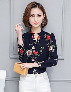 cheap Women's Tops-Women's Work Holiday Shirt - Floral Ruched Stand
