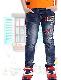 Para Meninos Jeans Informal Casual Escola Bordado Verão Primavera Outono Algodão