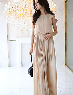 DABUWAWA Women's High Rise Going out Casual/Daily Holiday JumpsuitsSimple Boho Street chic Slim Wide Leg Pleated Solid