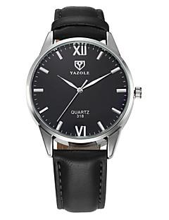 Χαμηλού Κόστους Brand Watches-YAZOLE Ανδρικά Ρολόι Καρπού Ρολόι Φορέματος Χαλαζίας / Καθημερινό Ρολόι Δέρμα Μπάντα Καθημερινό Μαύρο Καφέ
