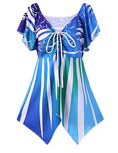 お買い得  レディースシャツ-女性用 お出かけ 祝日 - 縞柄 プラスサイズ シャツ ストリートファッション ディープVネック ストライプ