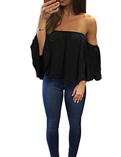 abordables Hauts pour Femme-Tee-shirt Femme, Couleur Pleine Décontracté Bateau