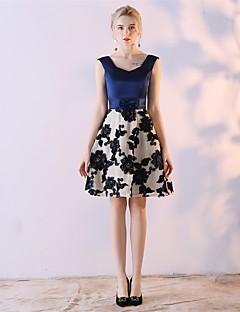 A-Linie Ausgekehlt Knie-Länge Satin - Chiffon Cocktailparty Kleid mit Schleife(n) durch Embroidered Bridal