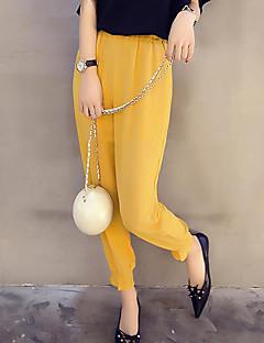 billige Nederdele og bukser til damer-Dame Boheme Plusstørrelser Løstsiddende Chinos Bukser Ensfarvet