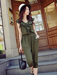 DABUWAWA Women's High Rise Going out Casual/Daily Holiday JumpsuitsVintage Street chic Punk & Gothic Slim Harem Ruffle Solid