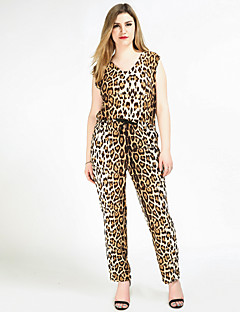 Cute Ann Women's High Rise Going out Casual/Daily Holiday Jumpsuits,Sexy Vintage Street chic Straight Slim Knitting Sexy Leopard All Seasons