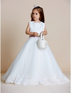 cheap Pageant Dresses-A-Line Floor Length Flower Girl Dress - Satin Tulle Sleeveless Jewel Neck with Appliques Bow(s) Sash / Ribbon by LAN TING BRIDE®