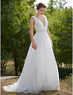 billiga A-linjeformade brudklänningar-A-linje Dunkel halsringning Svepsläp Organza Bröllopsklänningar tillverkade med Pärla / Draperad av LAN TING BRIDE® / Genomskinliga