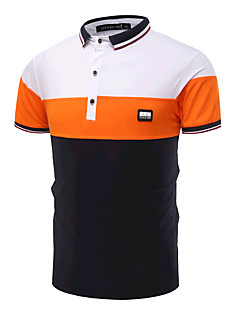 Men's Going out Simple Active Summer Polo,Color Block Shirt Collar Short Sleeves Cotton Medium