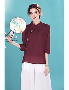 preiswerte -Damen Solide Chinoiserie Ausgehen Lässig/Alltäglich Hemd,Ständer Frühling Sommer ¾-Arm Baumwolle