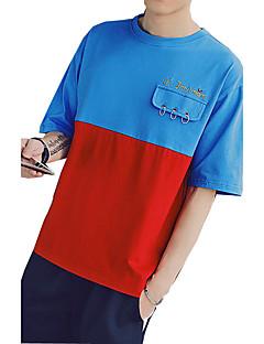 メンズ カジュアル/普段着 夏 Tシャツ,シンプル ラウンドネック 刺しゅう コットン 半袖 スモーキー