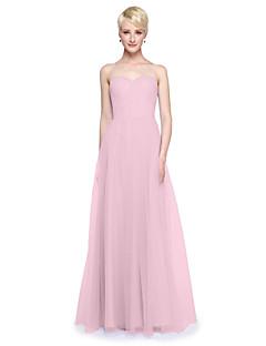 billige Kongeblått-A-linje V-hals Gulvlang Tyll Brudepikekjole med Sidedrapering / Drapert av LAN TING BRIDE® / Konvertibel kjole