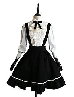 billiga Lolitamode-Klassisk/Traditionell Lolita Dam Flickor Kjolar Blus/Skjorta Cosplay Svart Långärmad Knälång