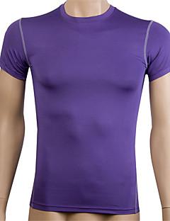 billiga Träning-, jogging- och yogakläder-Herr T-shirt för jogging - Röd, Blå, Violet t sporter T-shirt / Kompressionskläder / Överdelar Kortärmad Sportkläder Snabb tork,