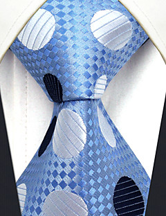 YXL5 Men's Neckties Laight Blue Polka Dot 100% Silk Business Dress Casual For Men